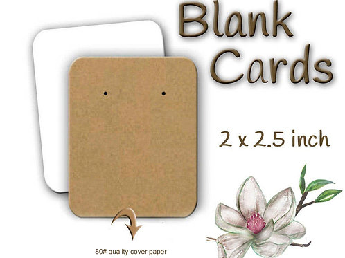 BLANK Earring Cards, Jewelry Cards, made in the USA, 60 Cards 2x2.50""