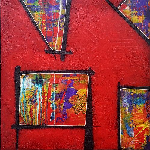 Red,  Modern Art, Contemporary Art, Print of Mixed Media