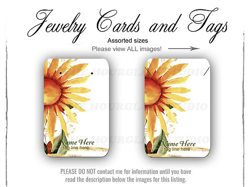 Sunflower Watercolor Matching Jewelry Cards -- Assorted  Sizes
