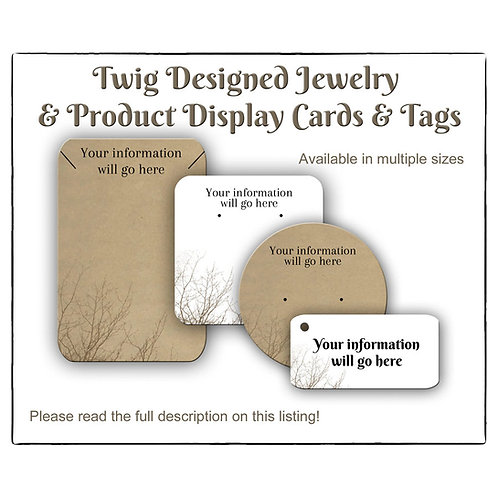 Earring Cards, Tags with Twig design