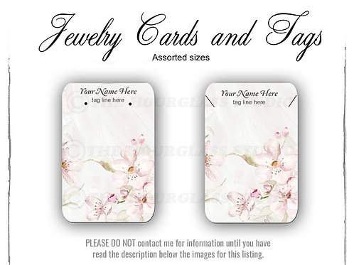 Cherry Blossom Watercolor Matching Jewelry Cards -- Assorted  Sizes