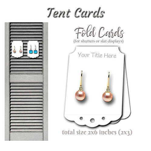 Tent Display Cards, Jewelry Display, Earring Cards