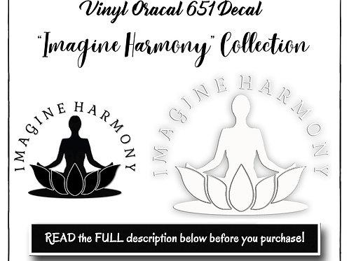 Yoga Decal, Vinyl Decal, Imagine Harmony