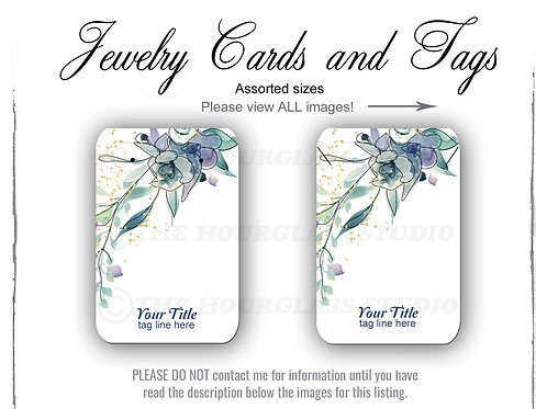 Blue Floral Watercolor Matching Jewelry Cards -- Assorted  Sizes