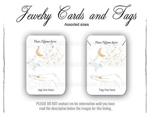 Gold Moon & Hand Matching Jewelry Cards -- Assorted  Sizes