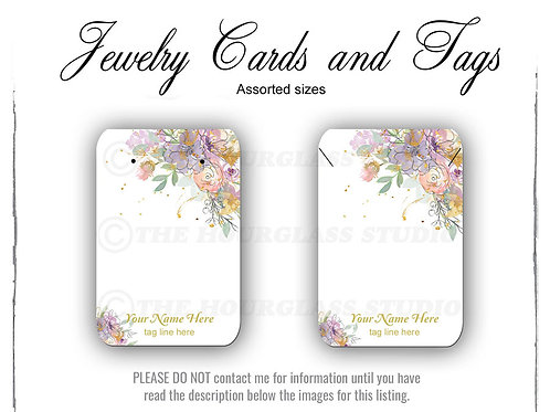 Floral Watercolor Matching Jewelry Cards -- Assorted  Sizes