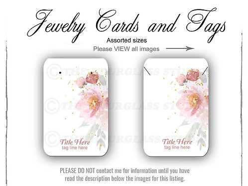 Rose Watercolor Matching Jewelry Cards -- Assorted  Sizes