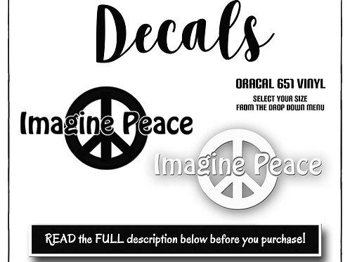 Imagine Peace Decal, Vinyl Decal, Oracal 651 Permanent, Peace Decal