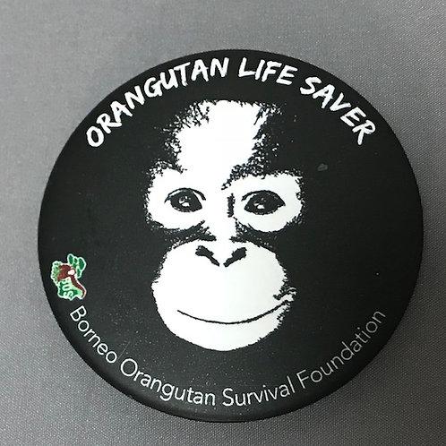 オランウータン支援・缶バッチ インドネシア製