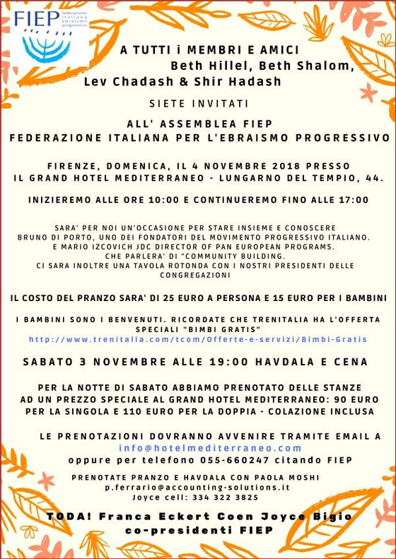 Invito Assemblea FIEP 2018 - Firenze