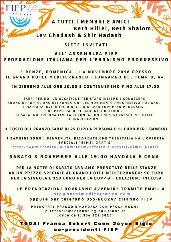 Invito all'assemblea FIEP del 4 Novembre 2018