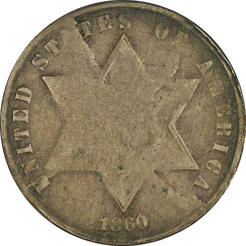 1860 td1-tdC, 3cS Counterfeit, VF+