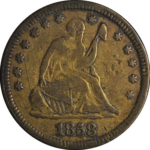 1858 Seated Quarter Transfer Die Counterfeit, VG/F