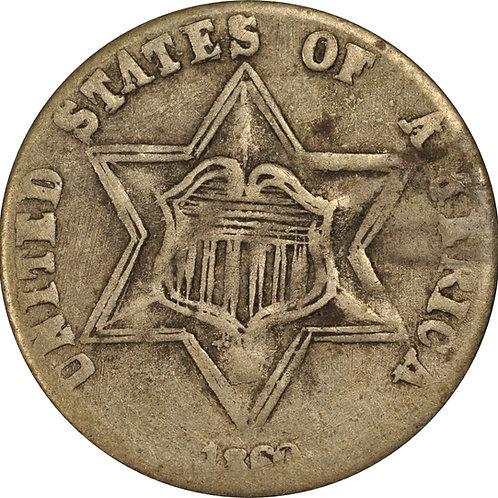 1860 2-K 3cS Counterfeit, F