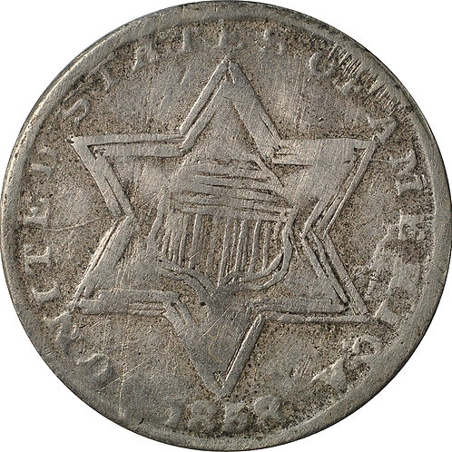 1858 TD1-TDC three cent silver cont. ctft.
