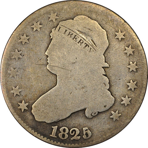 1825/4/2 B-2 Capped Bust quarter, reverse cud