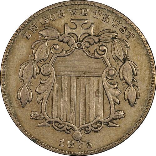1875 3-N, Shield nickel counterfeit, AU+