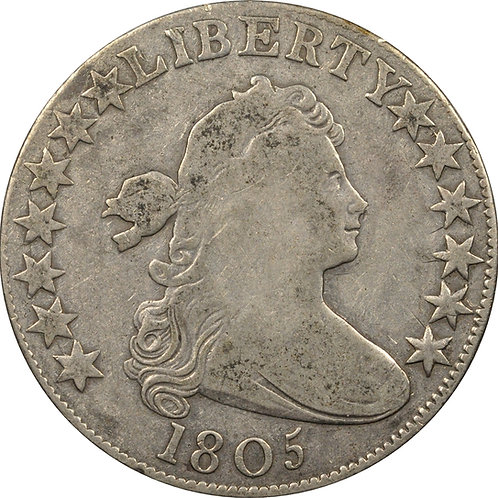 1805 O-104/T-10 (R5-) Draped Bust half dollar