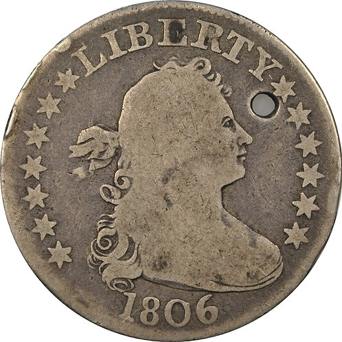 1806 B-6 (R5), Late Die State Cud (R7+/R8-) Draped Bust Quarter