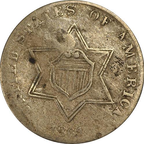 1861 5-Q 3cS Counterfeit, F/VF