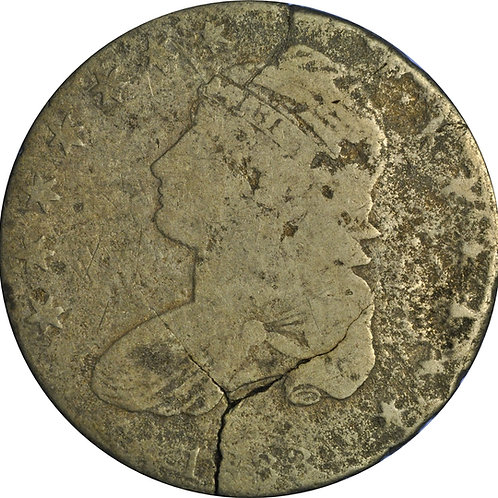 2 cracked planchet CBH counterfeits (1833 1-A, 1838 3-E)