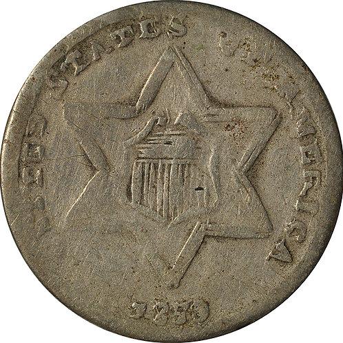 1859 Z1-I three cent silver cont. ctft.