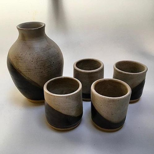 Stoneware 5 piece Sake Set