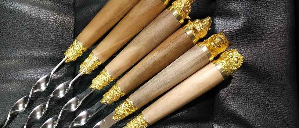 """Шампуры """"Звери"""" с деревянной ручкой из ореха, литьё латунь"""