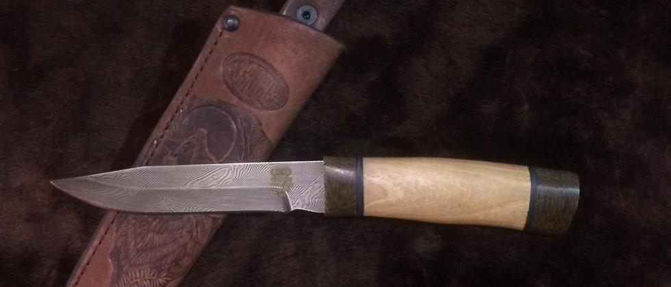 Нож Н-33 (ст. У-10А-7ХНМ) кованный дамаск, текстолит, орех
