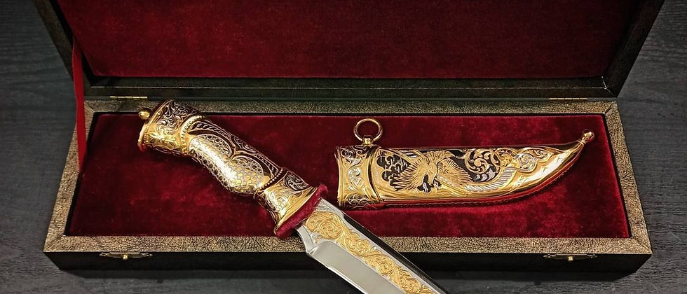 "Нож ""Орёл"" ЗОФ. Ножны ЦМ. Золото"