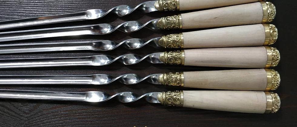Шампуры с деревянной ручкой из ореха, литьё латунь