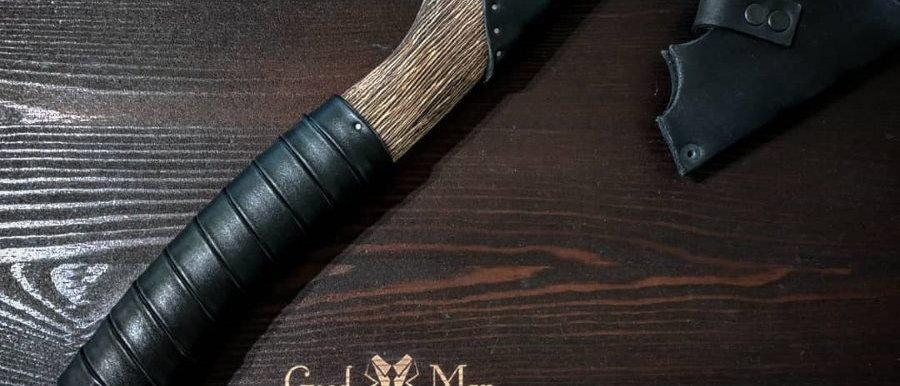 Топор ручной работы №6 (Сталь ХВГ, ясень, натуральная кожа) 38 см
