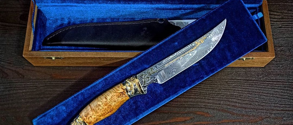 Нож НС-8 (ст. 95Х18-Х12МФ1,  дамаск, стаб. карельская берёза) ЗОЛОТО