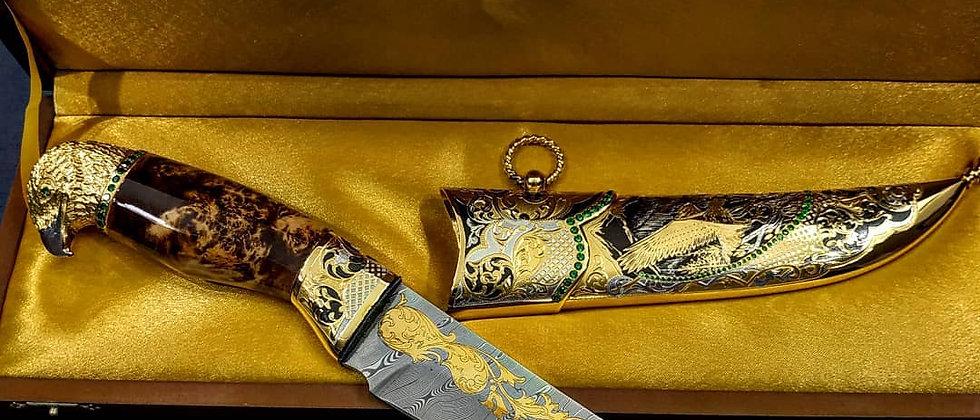 Нож Орёл (ст. нерж. дамаск 40Х13-Х12Ф1, карельская берёза, фианиты) ЗОЛОТО