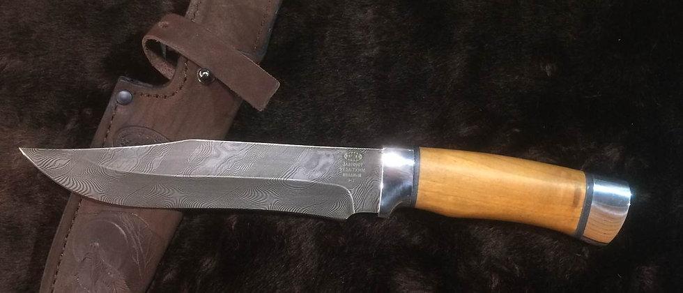 Нож Н-7 (ст. У-10А-7ХНМ) кованный дамаск, дюраль, орех. Златоуст