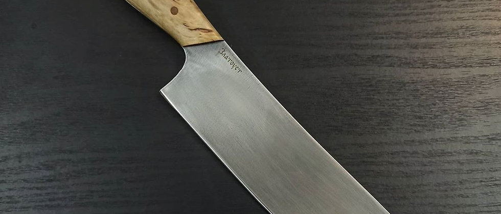 Нож кухонный Шеф (ст. Булат, цельнометаллический, карельская берёза)