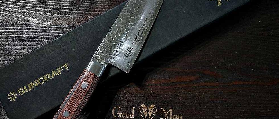 Нож кухонный Сантоку, дамасская сталь 33 слоя, SUNCRAFT Senzo Universal, 17 см