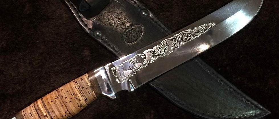 """Нож ЗОК """"Клык"""" (ст. ЭИ-107), рукоять береста"""