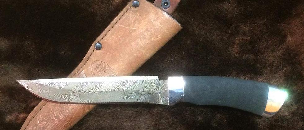 Нож Н-3 (ст. У-10А-7ХНМ) кованный дамаск, дюраль, микропора. Златоуст