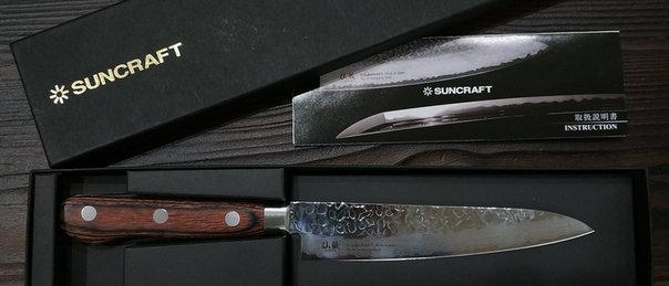 Нож кухонный Универсал, дамасская сталь 33 слоя, SUNCRAFT, 135 мм