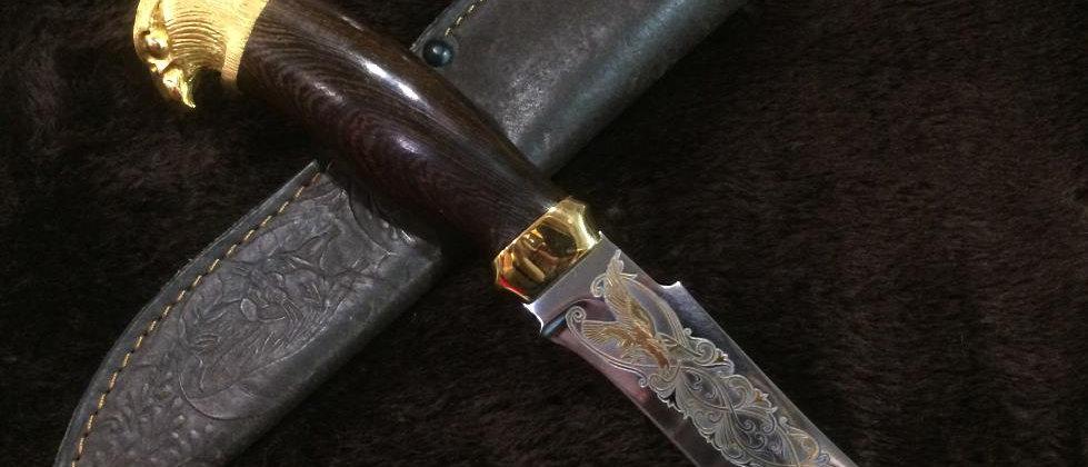Нож Н-27 (ст. ЭИ-107) Золото, художественное литьё