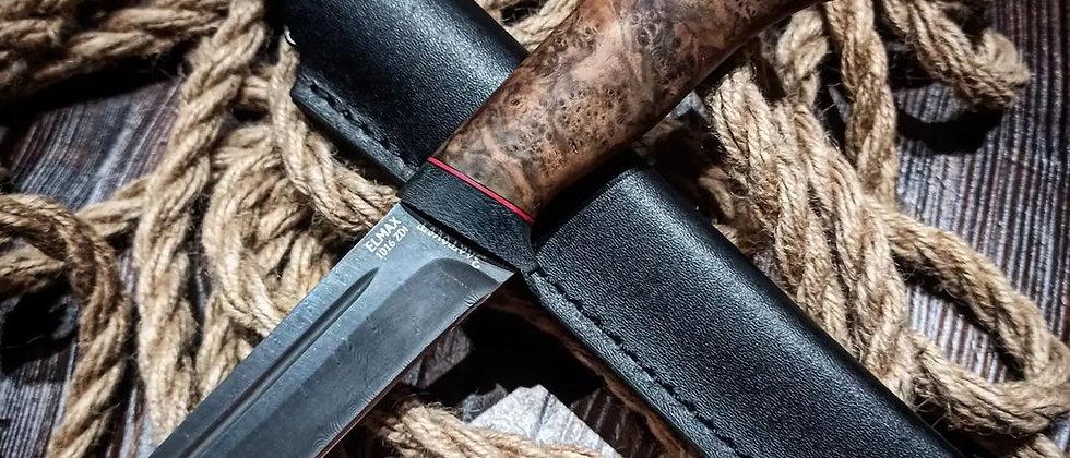 Нож Бекас (ст. ELMAX, 300 слоёв, нерж. дамаск, ореховый кап)