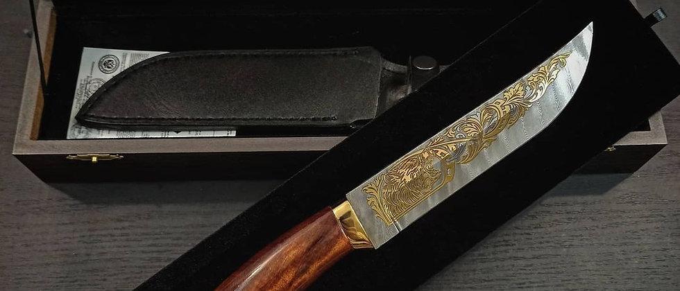 """Нож Н-5 """"Медведь"""", (ст.У-10А-7ХНМ дамаск) ЗОЛОТО, художественное литьё"""
