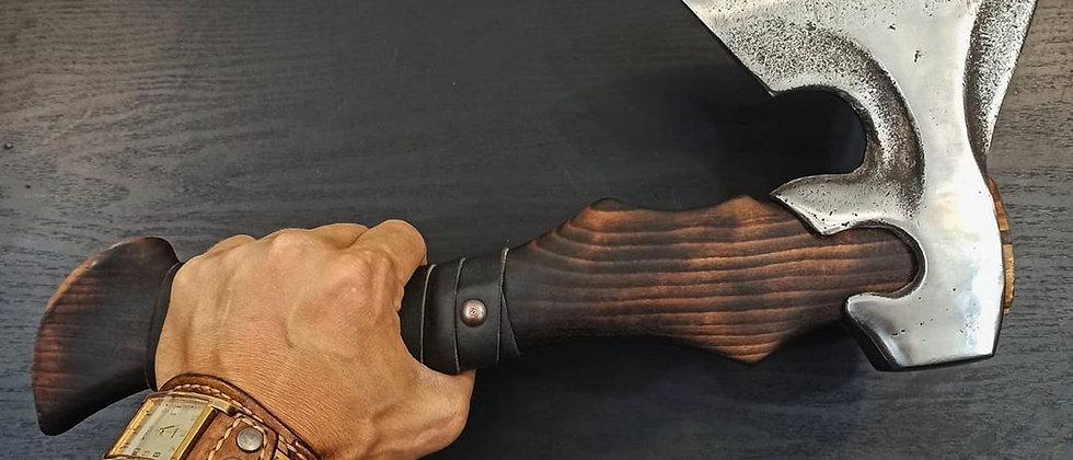 Топор ручной работы №7 (Сталь 65Г, бук, натуральная кожа) 38 см