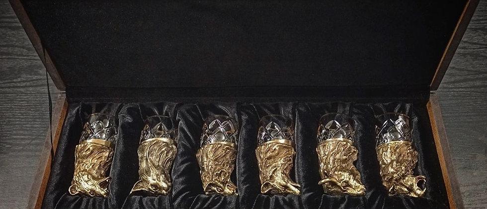 """Подарочный набор """"Стопки перевёртыши"""" (латунь, патина, хрусталь, золото)"""