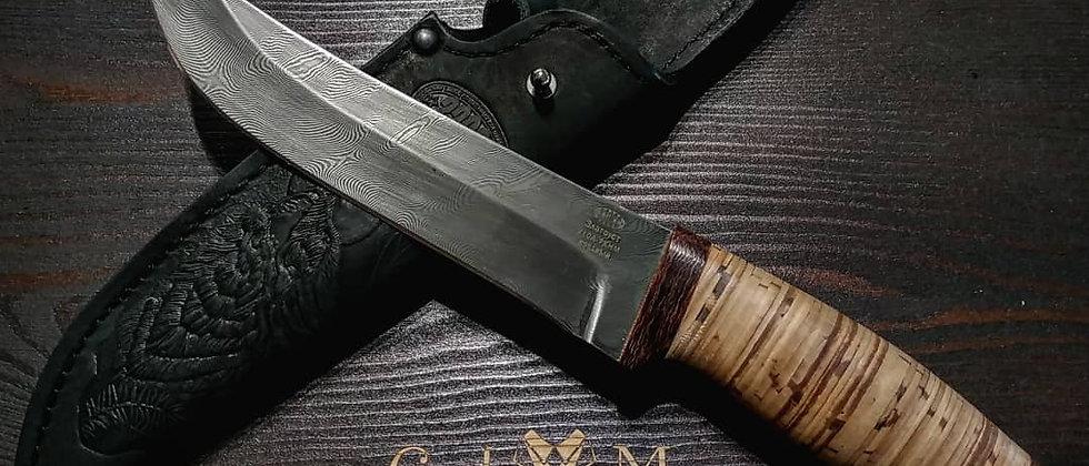 Нож Н-5 (ст. У10А-7ХМ Дамаск, рукоять текстолит, береста)