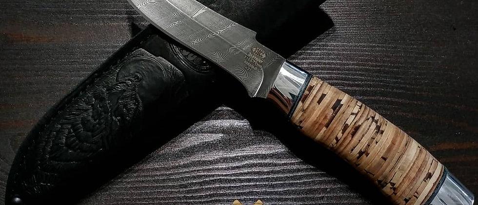 Нож Н-27 (ст. У10А-7ХМ Дамаск, рукоять дюраль, береста)