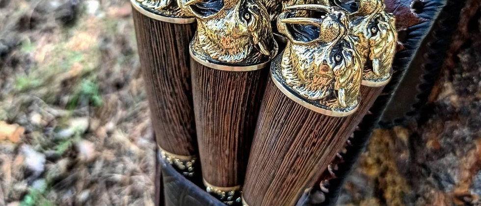 """Набор шампуров в колчане """"Саблезубые тигры"""" (литьё латунь, венге)"""