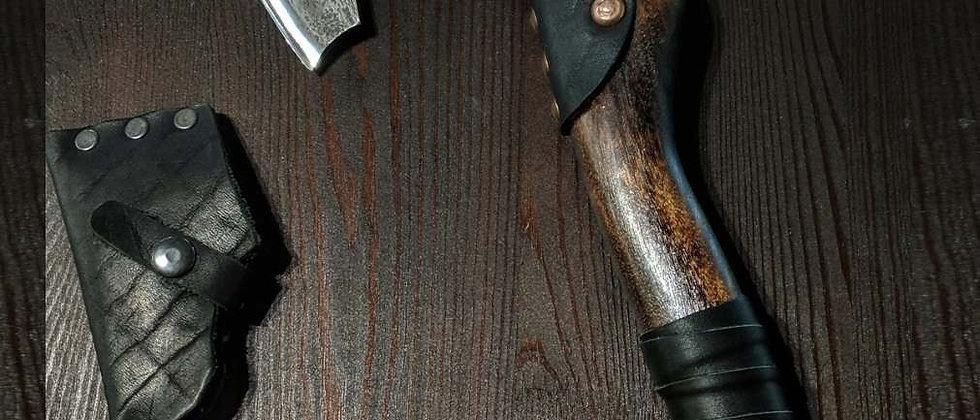 Топор ручной работы №3 (Сталь ХВГ, береза, натуральная кожа) 38,5 см