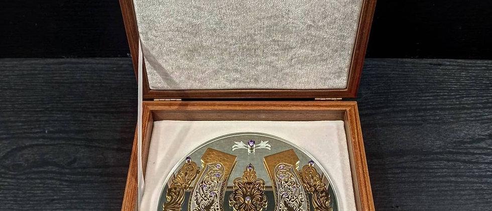 Подкова на зеркале (Золото, фианиты)